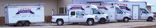 Our fleet of Lifetime Gutter vehicles.