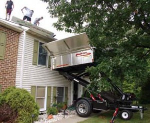 The Equipter Roofers Buggy allows us to remove debris from you roof without ruining your landscaping.